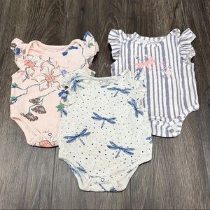 Jessica Simpson Set of 3 Flutter Sleeve Bodysuits